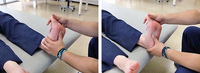 触診による足の状態確認